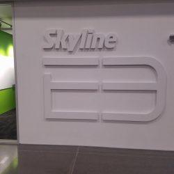 A large Skyline E3 logo on an office wall.