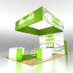 Green and white trade show display with sign