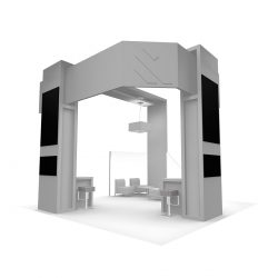 A greyscale vendor booth display from Skyline E3.