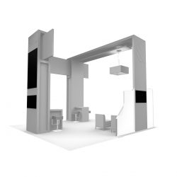A fully 3D rendering of a trade show booth designed by Skyline E3.