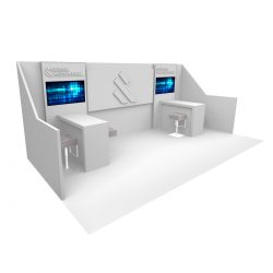 A greyscale exhibition booth design from Skyline E3.