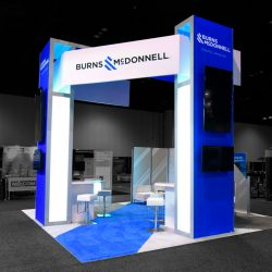 The completed trade show booth designed and built by Skyline E3.