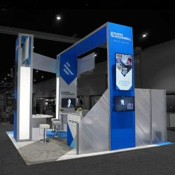 A second angle of a finished exhibition booth built and designed by Skyline E3.