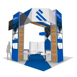A 3D rendering of a trade show booth with company graphics designed by Skyline E3.