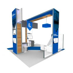 A full-color rendering of an exhibition booth from Skyline E3.