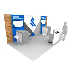 A company's graphics on a 3D trade show display rendering from Skyline E3.