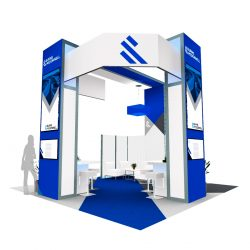 Trade show booth design with company logos by Skyline E3.