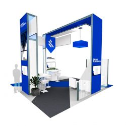 A different angle of a 3D exhibition booth designed by Skyline E3.