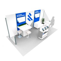 A table display with company graphics designed by Skyline E3.