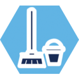Icon of a broom and bucket