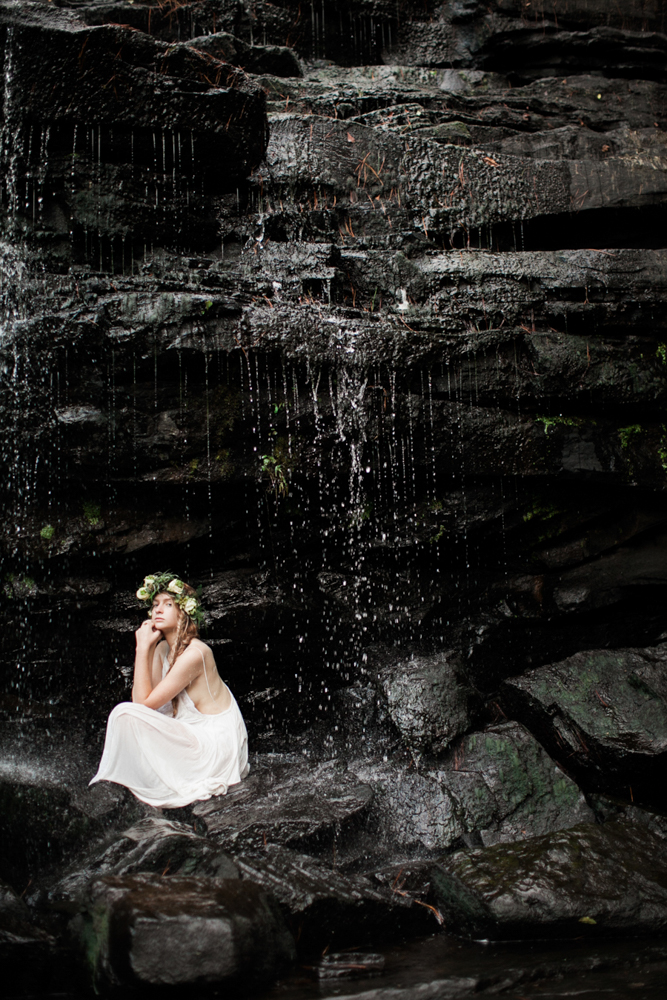 Waterfall fashion photography Vail