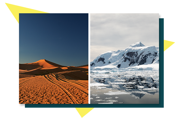 Picture of Antartica and the Sahara desert