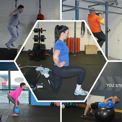 A collage of five people doing health and fitness training during the 30-day kickstart at SMART Training in Churchtown, Dublin City.