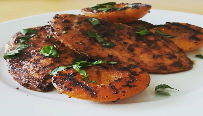 Grilled Chicken and Peaches with Fresh Basil