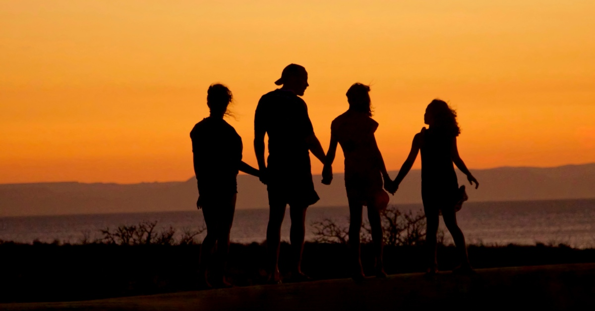 Silhouette of a family looking over a bluff.