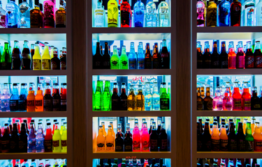 The 50+ selection of glass bottled soda at burger joint Soda Jerks