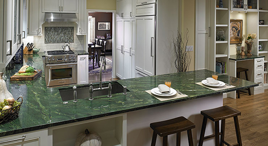 Old Town Tudor  Emerald Veined Quartz Countertop And Craftsman Cabinets.  Undermounted Sink And Gooseneck Faucet, Stainless Steel Oven And Hood Vent