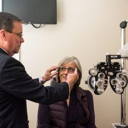 Woman during an eye exam - Spectrum Eye Care