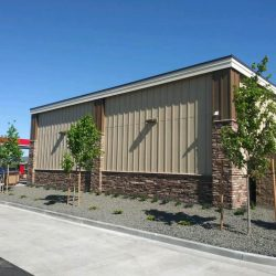 commercial building with new tan siding