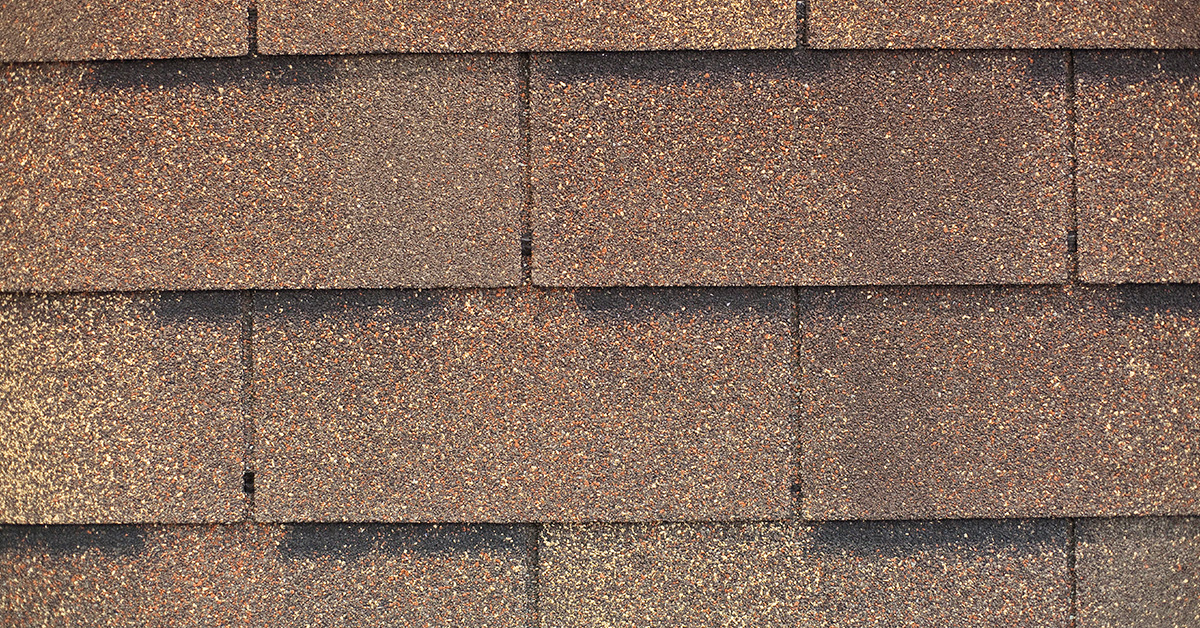 Closeup of brown shingles from S&S Roofing