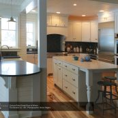 Kitchen interior with custom cabinets and island - St Croix Cabinet Solutions
