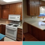 Before and after image of custom cabinet installation - St Croix Cabinet Solutions