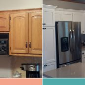 Before and after image of cabinets refaced to white with new hardware - St Croix Cabinet Solutions