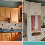 Before and after image of custom cabinet refacing - St Croix Cabinet Solutions