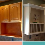 Before and after image of white refaced cabinets - St Croix Cabinet Solutions