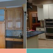 Before and after image of refacing custom cabinets - St Croix Cabinet Solutions