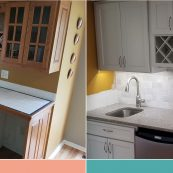 Before and after image of custom cabinet replacement - St Croix Cabinet Solutions