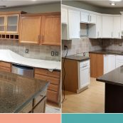 Before and after image of kitchen with updated custom cabinets - St Croix Cabinet Solutions