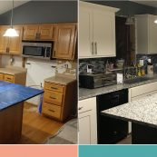 Before and after image of a kitchen with custom cabinets and countertops - St Croix Cabinet Solutions