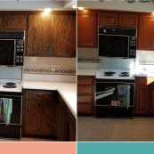 Before and after image of kitchen with new custom cabinets - St Croix Cabinet Solutions