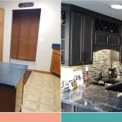 Before and after image of a kitchen remodel with new countertops, custom cabinets, and backsplash - St Croix Cabinet Solutions