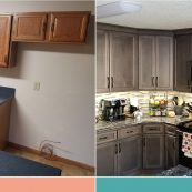 Before and after image of a kitchen with new custom cabinets - St Croix Cabinet Solutions