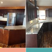Before and after image of kitchen with dark cabinets and upgraded countertops - St Croix Cabinet Solutions