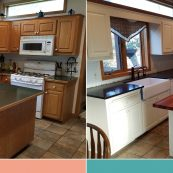 Before and after image of kitchen with white custom cabinets and butcherblock island - St Croix Cabinet Solutions