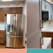 Before and after image of resurfaced cabinets - St Croix Cabinet Solutions