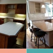 Before and after image of a kitchen with updated light gray cabinets and new countertops - St Croix Cabinet Solutions