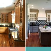 Before and after image of updated kitchen with white upper cabinets, gray bottom cabinets, and new countertops - St Croix Cabinet Solutions