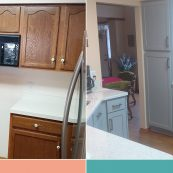 Before and after image of custom gray cabinets and updated backsplash - St Croix Cabinet Solutions