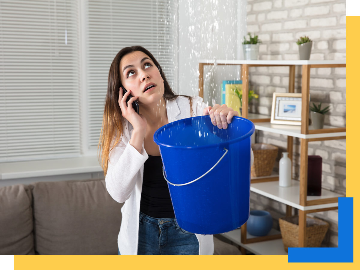 A woman discovers a leak in her roof.