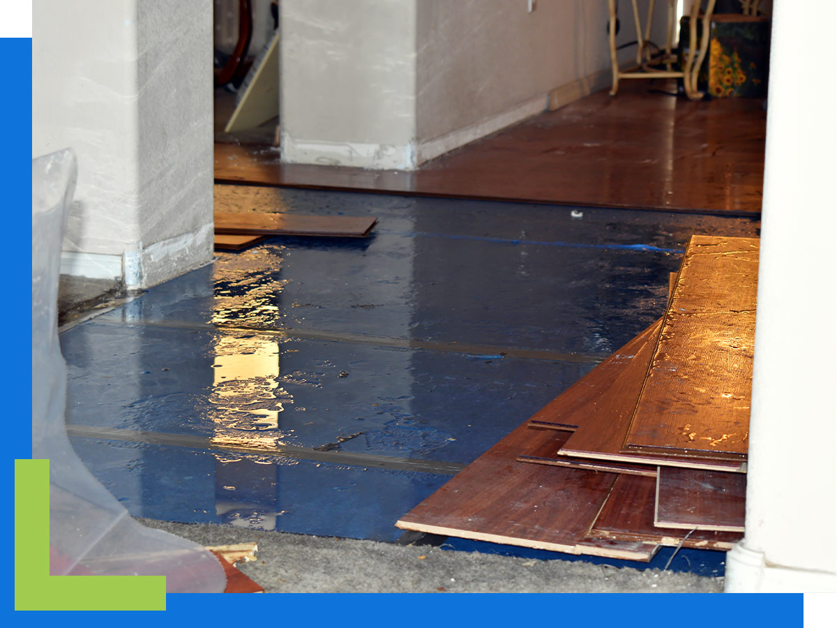 Water damage on a home's floor.