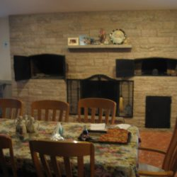 A lovely interior stone wall of a home in Walpole