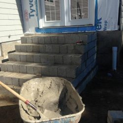 Some stone steps in Walpole under construction
