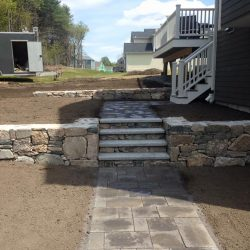 Stone steps in Walpole being constructed by StonePro Builders