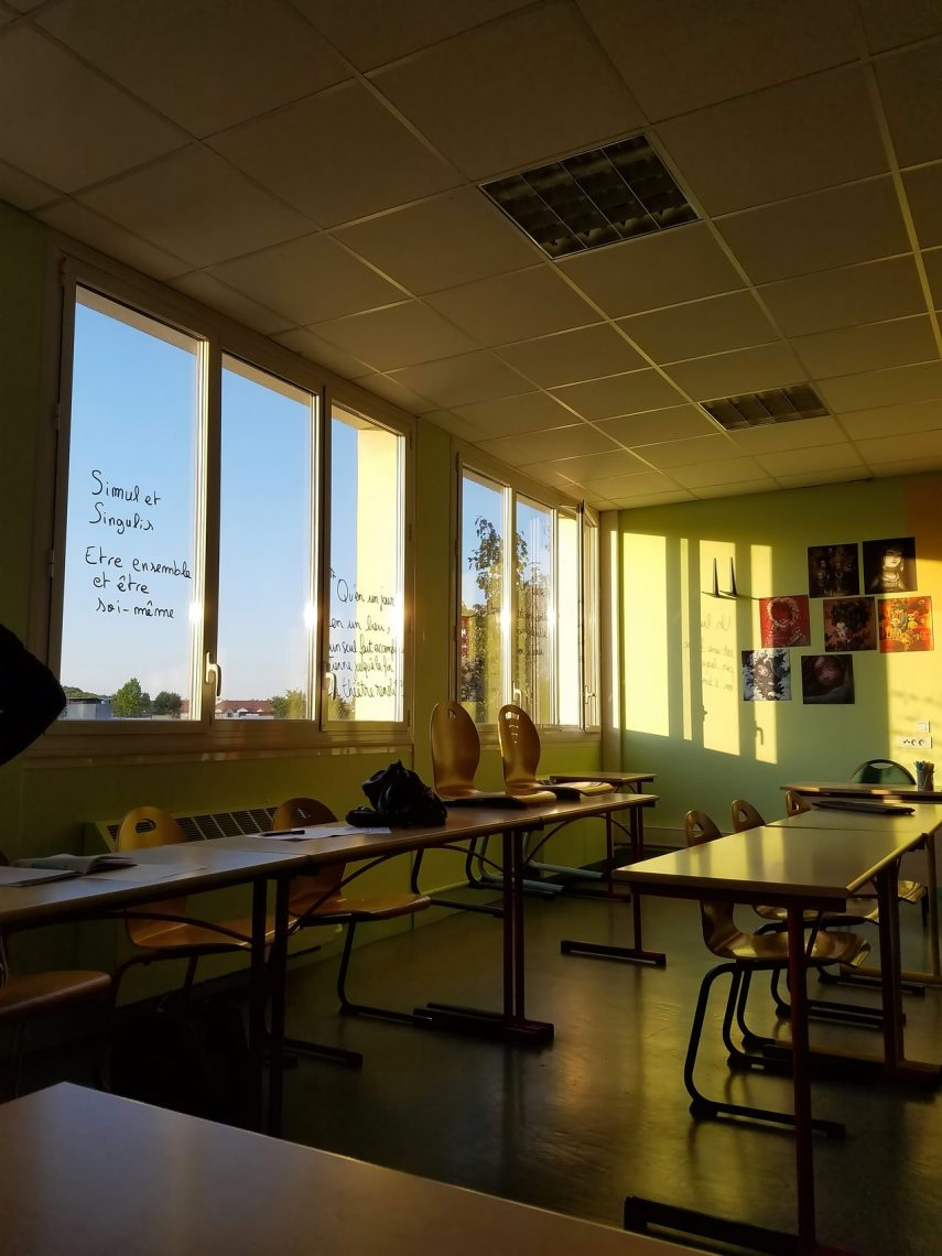 Sunlit Classroom with green paint