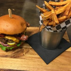 Angled Shot of Studebaker Classic Burger and Fries