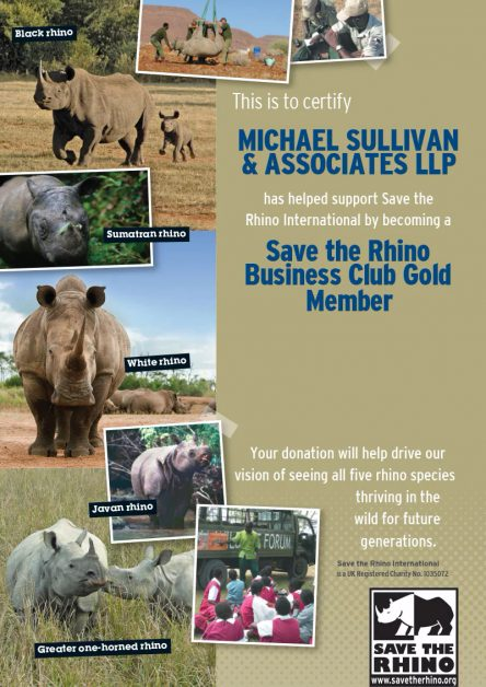 Our California law firm supports Save the Rhino